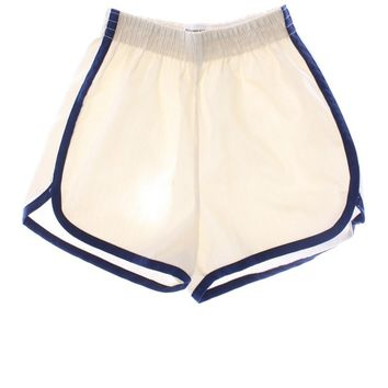 Vintage 70s Shorts: 70s -JCPenney- Womens cream background with blue piped seam design polyester and cotton elastic waist gym shorts with notched side vent hems.
