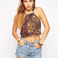 Kiss The Sky Printed Crop Top With Coin Trim