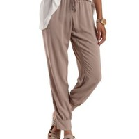 Light Tan Silky Zipper-Trim Jogger Pants by Charlotte Russe