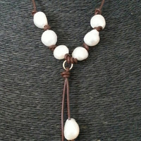 Leather And Freshwater Pearl Necklace With Leather Tassel Pendant With Freshwater Pearl  Leather Tassel Pendant Necklace
