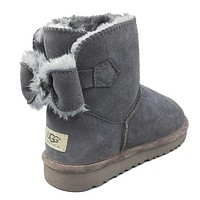 UGG Bow Fashion Fur Half Boots Snow Boots Shoes