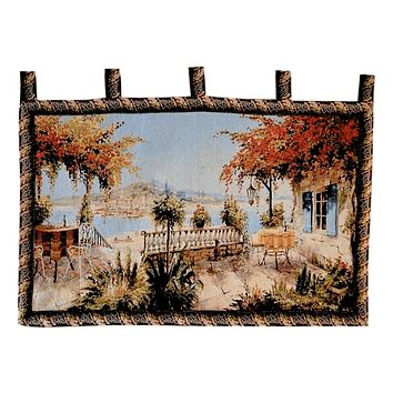 Tache 28 x 47 Inches Summer Ocean View Table for Two Tapestry Wall Hanging (WH-DA13571B)