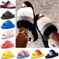 UGG Tide brand plush versatile slippers shoes