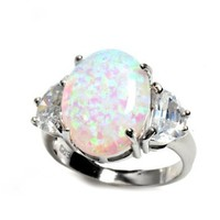LARGE Sterling Silver OVAL SPARKLE LIGHT BLUE WHITE LAB CREATED OPAL Ring (GENIUNE ITALIAN .925 STERLING SILVER, 8)
