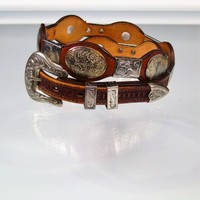 Western Cowboy Concho Belt Mexican Alpaca Brown Leather Size 34 Made In USA