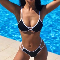 Hollow Out Bikinis Mujer Solid Swimsuit Female High Cut Bathing Suit Push Up Swimwear