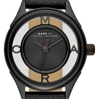 Women's MARC BY MARC JACOBS 'Tether' Skeleton Leather Strap Watch, 25mm - Black