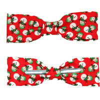 Skinny / Thin / Narrow Red Snowman Wearing Beanie Hat Cotton Clip On Bow Tie - Adult / Boys Bowtie