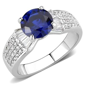 Right Hand Ring 3W1562 Rhodium Brass Ring with Synthetic in London Blue
