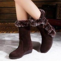 Women Flats Casual Thicken Winter Warm Faux Fur Snow Boots