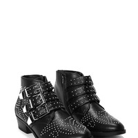 Stud Aside Faux Leather Ankle Boot