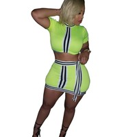Women Sexy Two Piece Neon Striped Crop Top Skirt Set