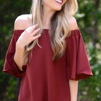 Hot to Trot Off Shoulder Top, Wine