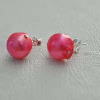 Hot Pink Authentic Freshwater Pearls , Stud Earrings