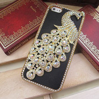 Swarovski Diamond Crystal Alloy White Color Peacock iPhone 5 Case Cover // Black Leather iPhone Case // Unique iPhone 4s Hard Case