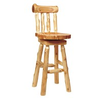 Rustic Cedar Log Counter Stool with Back - 24""