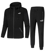PUMA winter new plus velvet sports hooded cardigan casual sports trousers two-piece Black
