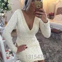 Elegant Lace V-Neck Delicacy  Beadings Long Sleeve Sexy Mini Cocktail Dress Popular Open Back Plus Size Party Dress