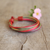 Multicolor Multistrand Waxed Cord String Jewelry African Style Urban Style Gift for her Optimistic Rainbow Spring Fashion Beach Fashion