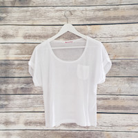 White Pocket Tee with Cuffed Sleeves