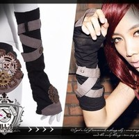 Victorian SteamPunk supernatural architecth Single hand fingerless glove SP030 K