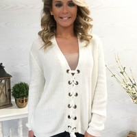 Ease The Day Lace-Up Sweater - Winter White