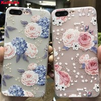 KaiNuEn luxury 3d back flower tpu phone capinha,coque,case,cover for apple iphone 8 plus 8plus silicone silicon i girl cute pink