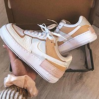 Nike Air Force 1 Hot Sale Women Casual Leather Cream Sport Shoes Sneakers