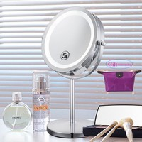 6 Inch 5x Magnification Cosmetic Makeup Mirror Round Shape 2Sided Rotating Magnifier Mirror  LED Light Makeup Mirror for Gift