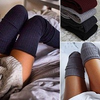Womens Winter Soft Cable Knit Over knee Long Boot Thigh-High Warm Socks
