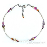 Shimmery Sunset Glass Crystal Anklet