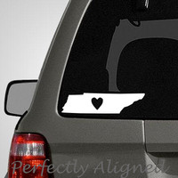 Tennessee with Heart Home State Vinyl Decal by PerfectlyAligned