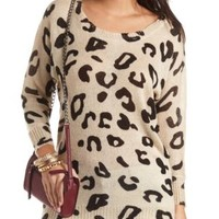 Button-Up Back Printed Tunic Sweater