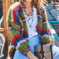 Explosion models solid color stitching cardigan sweater coat women