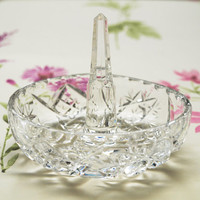 Ring Holder, Glass Ring Holder, Lead Crystal Ring Holder, Lead Crystal, Ring Tree, Ring Dish, Dressing Table - 1950s / 1960s