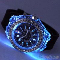 Unisex Fashion Geneva Silicone Luminous Light Sports Quartz Analog Wrist Watch 1R6P