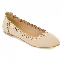 Concise Hollow Out and Solid Color Design Women's Flat Shoes