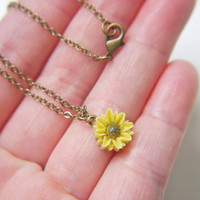 Sunflower Necklace. Antique Brass. Dainty. Simple. Adorable