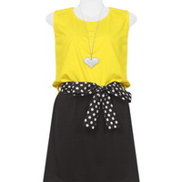 Yellow and Black with Polka Belt Dress