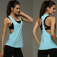 8 Colors Summer Sexy Women's Tank Tops Quick Drying Loose Breathable Fitness Sleeveless Vest Workout Top Exercise T-shirt 1033