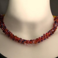 Wire knit necklace with triangle beads Chain of berries by CatsWire on Zibbet