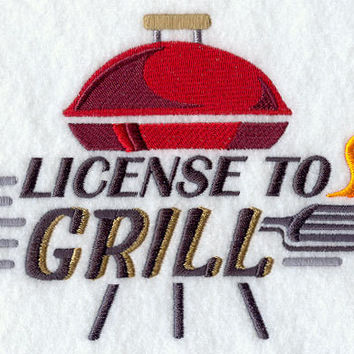 License to Grill Funny Embroidered BBQ Apron Father's Day Gift, Birthday Gift, Host Gift