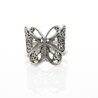Butterfly Antique Silver Plated Adjustable Ring