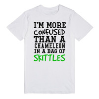 More confused than a chameleon in skittles tank top tee t shirt
