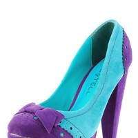 Kiss & Tell Purple Calida06 Two Tone Perforated Bow Pumps and shop Shoes at MakeMeChic.com