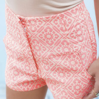 Life Goes On Hot Pink Geometric Print High Waist Shorts