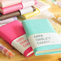 Hot Cute smiley Mini Portatable notebook notepad cute stationery leatherette diary book papelaria school supplies