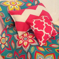 Doll Bedding colorful teal flower print -18 inch doll - Comforter set - pink chevron - little girl gift  - cotton bedding