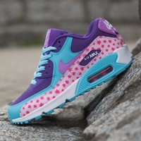Tagre™ ONETOW Best Online Sale Nike Air Max WMNS 90 Premium Mesh Gs Prism Pink Running Shoes Sport Shoes 724875-600