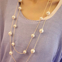 Collier 2016 Fashion Long Necklaces & Pendants Big Simulated Pearl Jewelry Gold Multilayer Necklace for Women Collares Bijoux